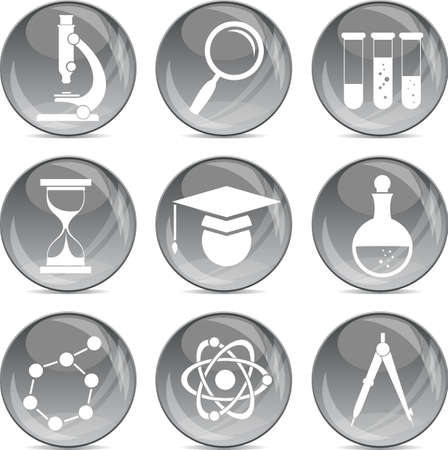 science icons: science icons on shiny grey balls eps10
