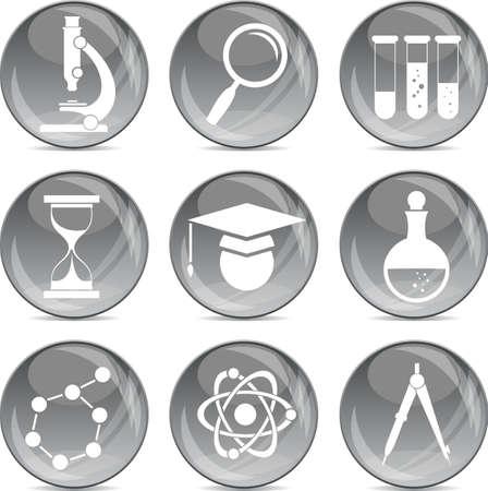 science icons on shiny grey balls eps10 Stock Vector - 12373963