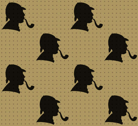 holmes: seamless pattern of detective Illustration