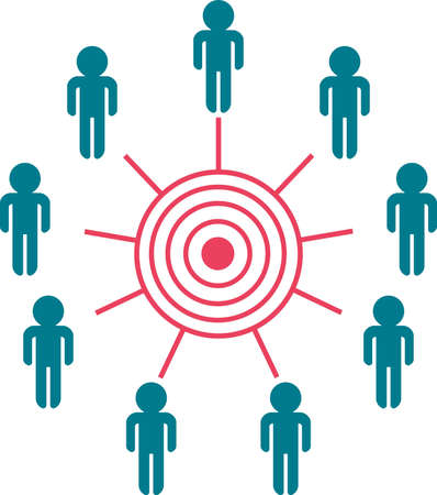 blue sphere: concept: people trying to reach the same aim together  Illustration