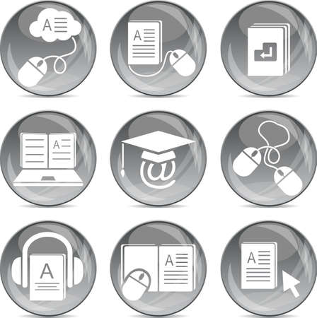 electronic book: e-learning icons