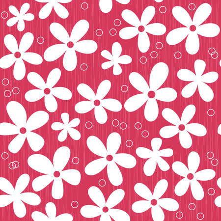 seamless white flowers on a red doodle background  Vector