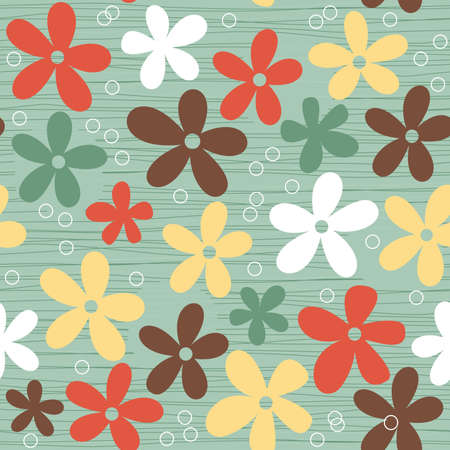 seamless retro coloured floral background  Vector