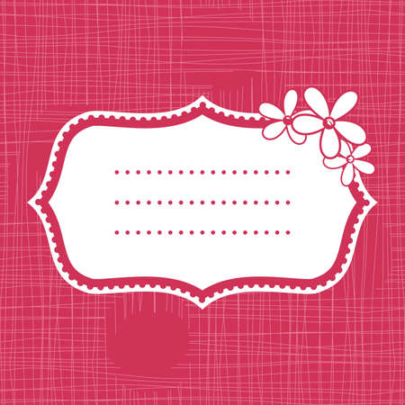 cute white banner on seamless pink background with flowers  Vector