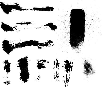 wet paint: grunge ink brushes textures  Illustration