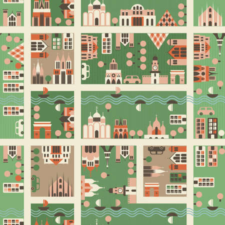 alleys: seamless map of city  Illustration