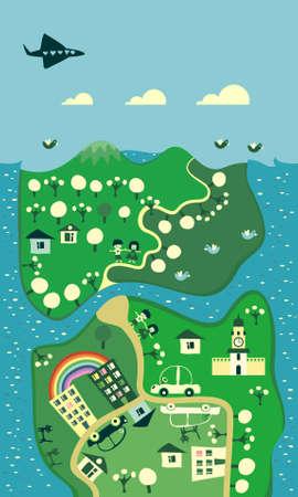 cartoon map of the city  Vector