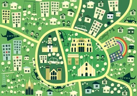 street map: cartoon seamless map of milan  Illustration