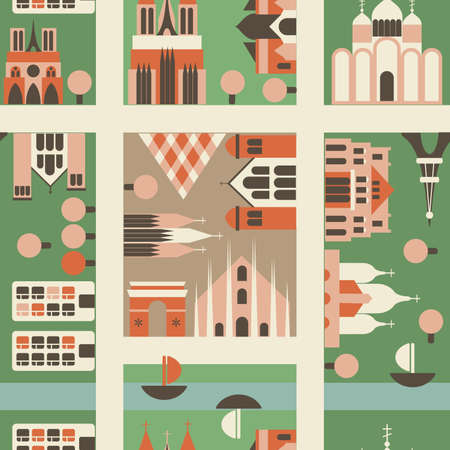seamless european city in vector  Vector