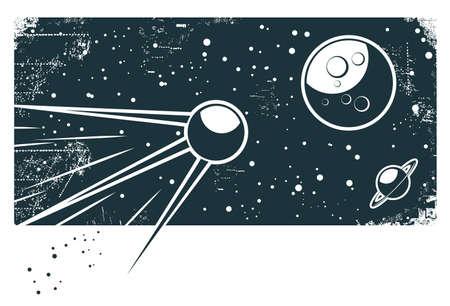 soviet: sputnik in the space: 1 blue object on white background