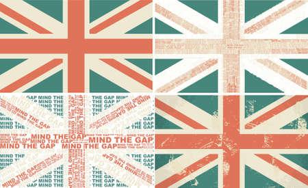 Satz von 4 retro Flaggen der UK Vektorgrafik