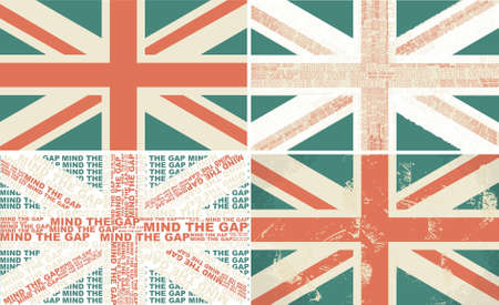 set of 4 retro flags of the UK Stock Vector - 12374019