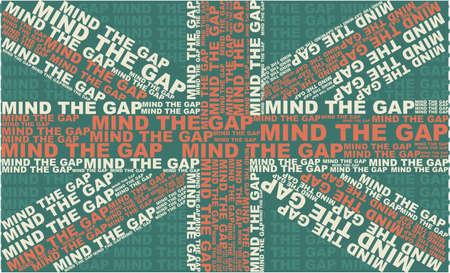british culture: Mind The Gap bandera de Reino Unido