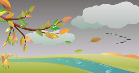 autumn landscape in vector  Vector