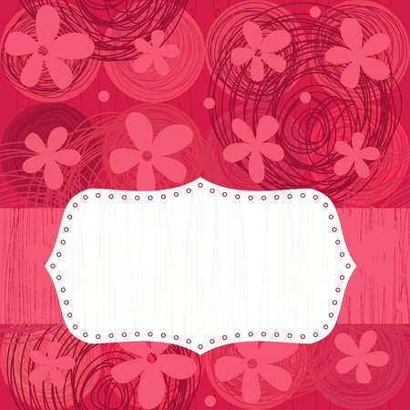 seamless flowers with blank banner Vector