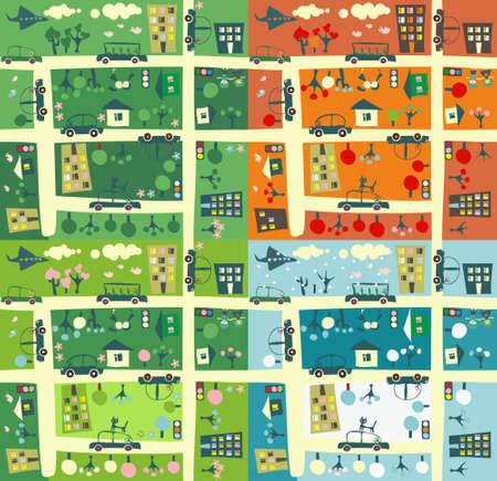 pajaro caricatura: calle durante cuatro temporadas Vectores