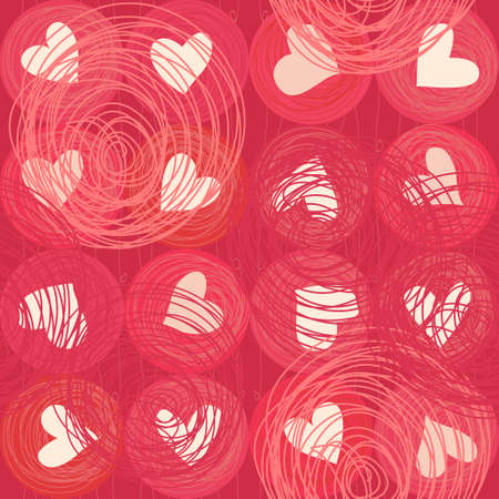 seamless doodle hearts Vector