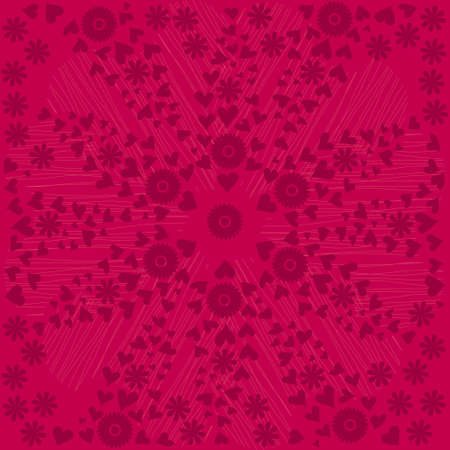 pink hearts and flowers pattern Vector