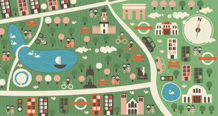 london eye: cartoon map of hyde park london