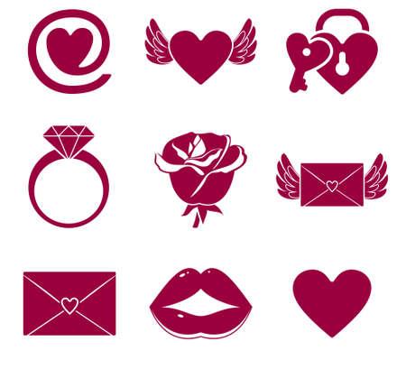 anillos de boda: conjunto de iconos de amor Vectores