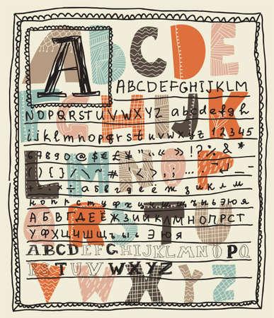 altogether: alphabet sets altogether on a layout  Illustration