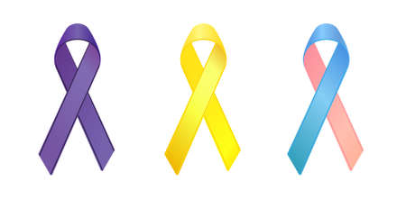 pancreatic cancer: purple,yellow, blue and pink ribbons as symbols of general cancer, bone cancer, infertility awareness  Illustration