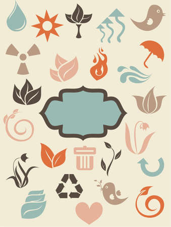 retro environmental icons with banner Stock Vector - 13576895