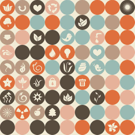 ecological icons in retro seamless pattern  Vector