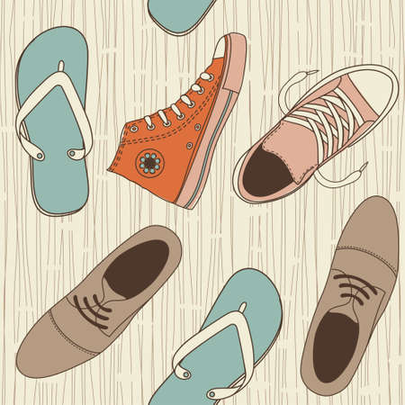shoe print: seamless shoes pattern  Illustration