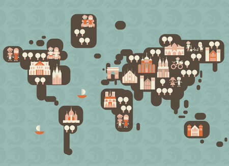 funky cartoon map of the world Vector