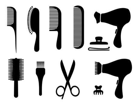 peigne et ciseaux: ic�nes cheveux salon silhouette Illustration
