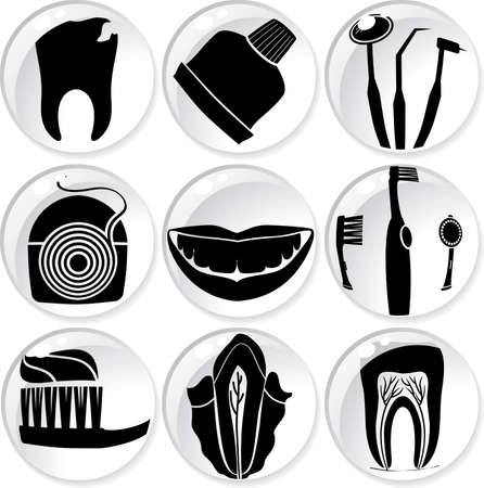 floss: dental care icons in glass balls