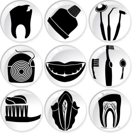 mal di denti: Icone di cure dentistiche in sfere di vetro