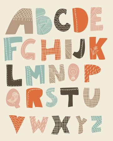 lijntekening: funky alfabet met texturen op brieven Stock Illustratie