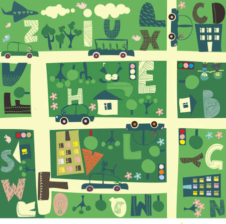 learning tree: find alphabet on a seamless cartoon map