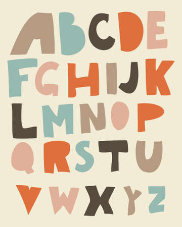 funky retro alphabet in vector  Vector