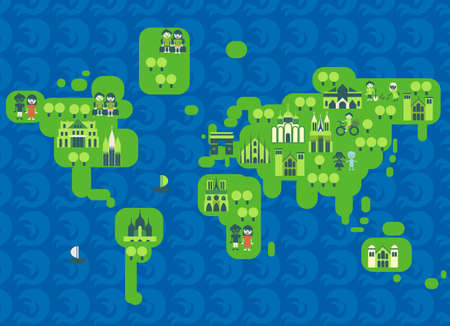 multistory: cartoon map of the world