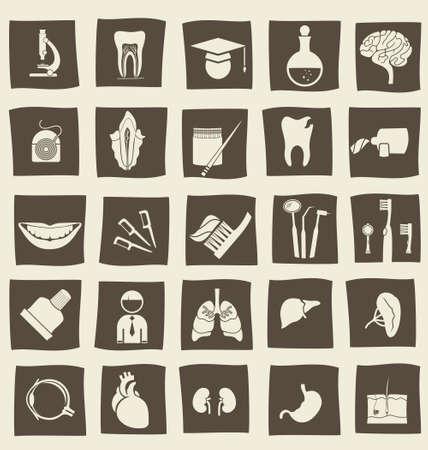 retro anatomische iconen Vector Illustratie
