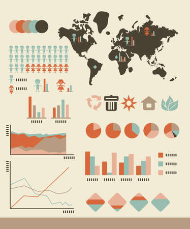 population: environmental and population statistics, charts and graphs Illustration
