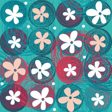 seamless whimsical flower pattern Vector
