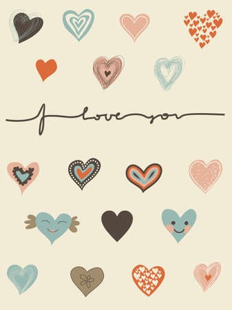 hand written: set of hearts and I love you text