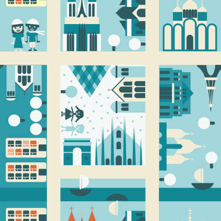 winter street seamless backgrounds  Vector