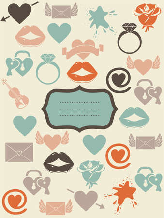 ring wedding: retro love icons with banner  Illustration