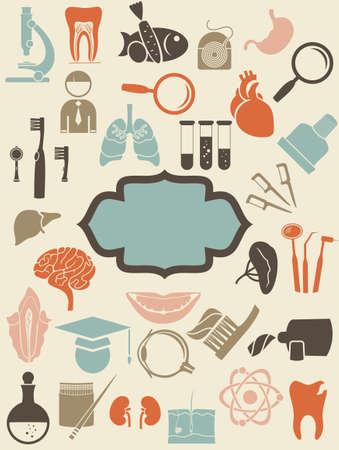 retro medische pictogrammen met lege blauwe banner voor uw tekst
