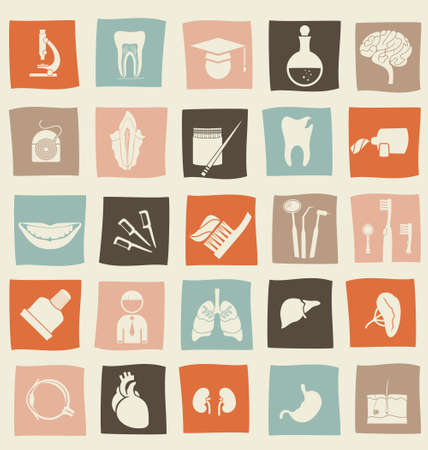 organ: retro anatomical icons set