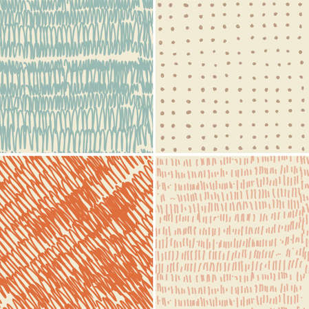 set of 4 seamless doodle patterns  Vector