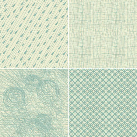 set of 4 seamless doodle backgrounds in two vintage colours Stock Vector - 14987647