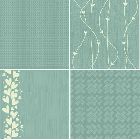 set of 4 seamless patterns in faded blue Vector