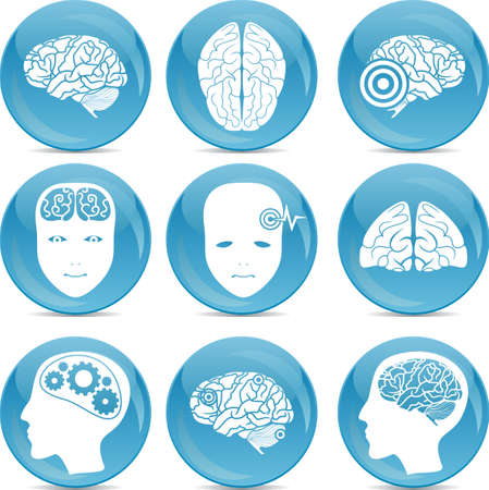set of brain icons  Illustration