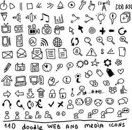 photo icons: 110 doodle web media and social media icons  Illustration